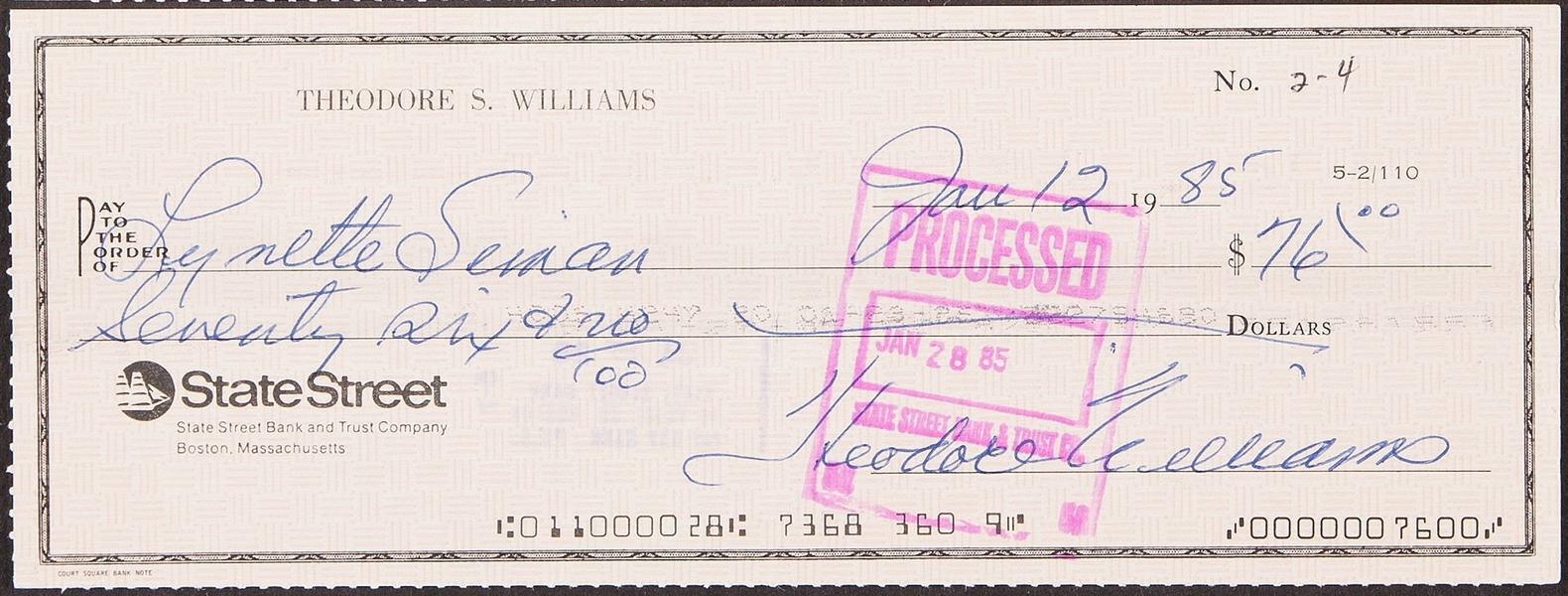 TED WILLIAMS SIGNED PERSONAL CHECK CLAUDIA WILLIAMS COA